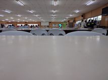 Empty canteen. A large almost empty canteen after lunch break stock images