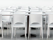 Empty canteen with modern styled white chairs Stock Photos