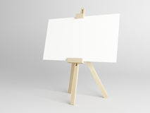 Empty canvas. Empty white canvas for artist on wooden easel vector illustration