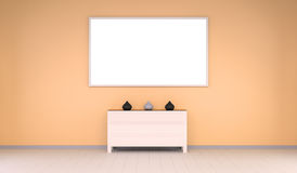 Empty canvas on a wall and chest of drawers 3D rendering Royalty Free Stock Image