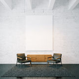 Empty canvas on the white bricks wall background Stock Photos