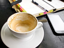 Empty capuchino coffee cup Stock Image