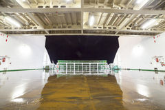 Empty car deck on a ferry. Night view stock images