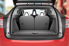 Empty car minivan trunk with folded rear seats A lot of space 3d Royalty Free Stock Photos