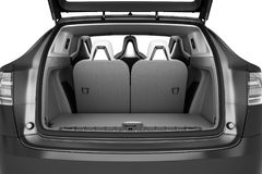 Empty car minivan trunk with folded rear seats A lot of space 3d Stock Image