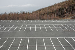 Empty Car Park at Fuji. A deserted car park at the 5th Station (the highest point that vehicles can reach) on the Japanese volcano, Mount Fuji Stock Image