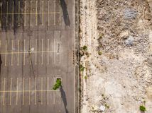 Empty car parking by drone royalty free stock image
