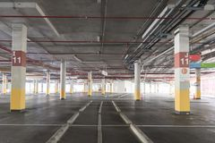 Empty Car parking lot garage underground interior in supermarket. Empty Car parking garage underground interior in supermarket royalty free stock photos