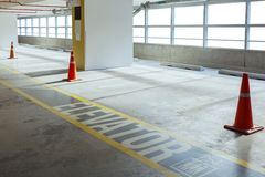 Empty car parking line and red cone with walk way, can use as ba Royalty Free Stock Photos