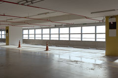 Empty car parking line  with red cone and white windows, can use Stock Images