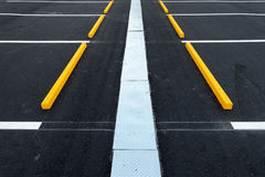 Empty car parking lots and drainage gutter., Outdoor public parking. Royalty Free Stock Image