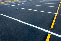 Empty car parking lots, Outdoor public parking, Transportation. Royalty Free Stock Image