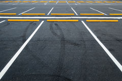 Empty car parking lots, Outdoor public parking, Transportation. Stock Photos