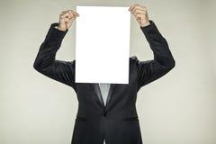 Empty card, businessman hiding. Empty card, business man hiding Stock Image