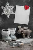 Empty card and christmas decorations Stock Image