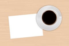 Empty Card and Cup of Coffee Stock Photos