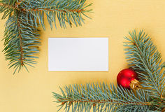 Empty card on golden Christmas background Stock Images