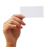 Empty card in a hand Stock Images