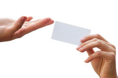 Empty card in a hand Royalty Free Stock Photos