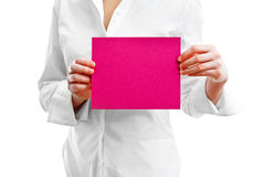 Empty card in hands Royalty Free Stock Photos
