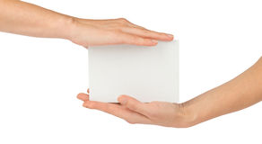 Empty card in humans hands on white Stock Image