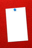 Empty card over red cork vertical Stock Photography