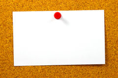 Empty card over yellow cork Royalty Free Stock Photography
