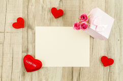 Empty card with rose flower, gift box and heart Royalty Free Stock Image
