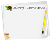 An empty card template with a yellow pencil Royalty Free Stock Image