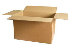 Empty cardboard box. Photo of an empty cardboard box.  Clipping path included Royalty Free Stock Photo