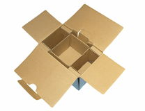 Empty cardboard box isolated on white Royalty Free Stock Images