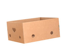 Empty cardboard box at jaunty angle isolated on white Stock Photography