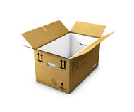 Empty cardboard box opened with insulated foam in, isolated on white background. 3d Illustration Royalty Free Stock Photo