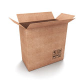 Empty cardboard box opened Stock Photos