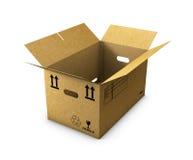 Empty cardboard box opened isolated on white background. 3d Illustration empty cardboard box opened isolated on white background Royalty Free Stock Image
