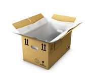 Empty cardboard box opened with thermo foam in , isolated on white background. 3d Illustration empty cardboard box opened with thermo foam in , isolated on white Stock Image