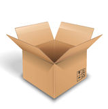 Empty cardboard box opened on white background Stock Photography