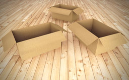 Empty cardboard boxes on floor Stock Photography