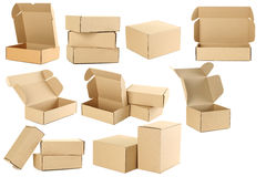 Empty cardboard boxes Stock Images