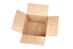 Empty cardboard boxes with lids open Royalty Free Stock Photo