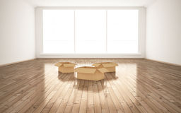Empty cardboard boxes in room stock illustration