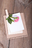 Empty cardboard card with flowers Royalty Free Stock Photo