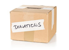 Empty cardboard donations concept box Royalty Free Stock Photos