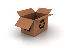 Empty cardboard with recycle symbol Stock Photography