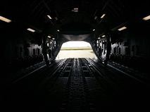 Empty Cargo Bay. The empty cargo bay of a C-17 aircraft after an off-load in Africa royalty free stock photo