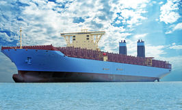 Empty cargo ship Stock Photo