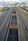 The empty cargo structure costs at railway station Murmansk Royalty Free Stock Photos