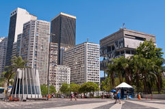 Empty Carioca Square in downtown Rio de Janeiro on a beautiful sunny summer day Stock Photography
