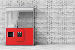 Empty Carnival Red Toy Claw Crane Arcade Machine. 3d Rendering Stock Image