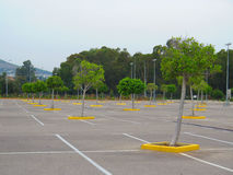 Empty carpark in large shopping mall Stock Photo